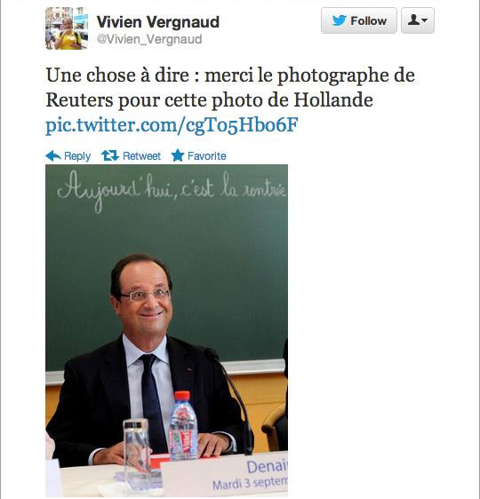 """""""Una cosa que decir: gracias al fotógrafo re Reuters por esta foto de Hollande"""""""