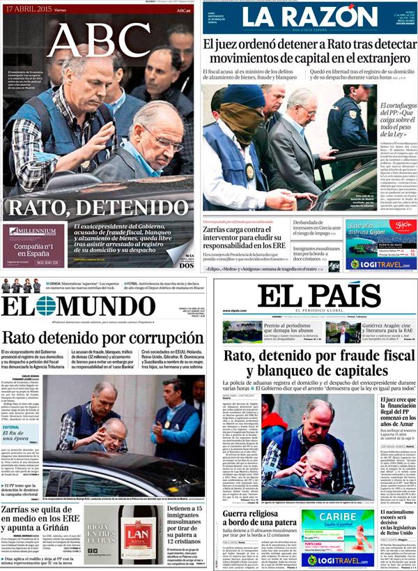 Portadas de la detención de Rodrigo Rato.